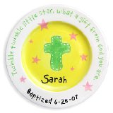 Cross and Stars Girl Personalized Plate
