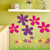 Garden Field of Flowers Wall Sticker Decal