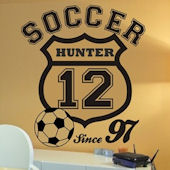 Pesonalized Soccer Crest  Wall Sticker Decal