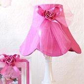 Hot Pink Dupioni Silk And Tulle Bow Lamp
