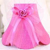 Hot Pink Dupioni Silk Lamp Shade with Tulle Bow