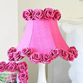Hot Pink Dupioni Silk And Roses Lamp