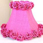 Hot Pink Dupioni Silk Lamp Shade with Roses