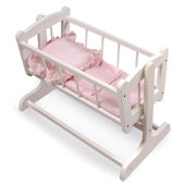 Heriloom Style Doll Cradle with Blanket and Pillow