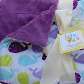 Baby Jakes Happy Whales Purple Blanket