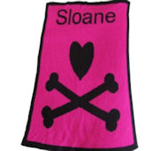 Heart With Crossbones Personalized Blanket