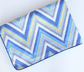 Ikat Blue Chevron Piped Blanket