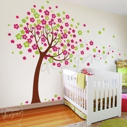 Trailing cherry blossom tree wall sticker mural the frog for Cherry tree mural