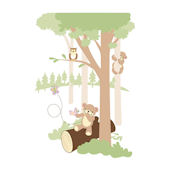 Teddys Wooded Wonderland 2 Wall Mural