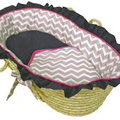 Hoohobbers Chevron Grey And Pink Moses Basket