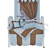 Dots Blue 3pc Crib Bedding Set