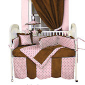 Dots Pink 3pc Crib Bedding Set