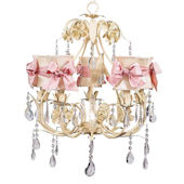 5 Arm Ballroom Chandelier Ivory Shade Pink Check