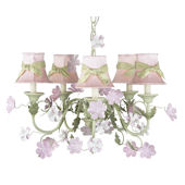 5 Arm Leaf and Flower Chandelier Pink Shade Green