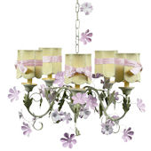 5 Arm Leaf and Flower Chandelier Green Shade Pink
