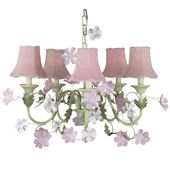 5 Arm Leaf and Flower Chandelier Pink Bead Shade