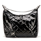 Patent Black Hobo Diaper Bag