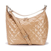 Patent Caramel Hobo Diaper Bag