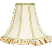 vory And Green Trim Large Bell Shape Shade