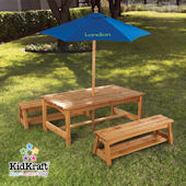 Kid Kraft Table and Benches with Blue Umbrella