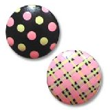Black Pink and Green Gingham Dots Drawer Knobs