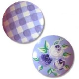Lavender and Gingham Rose Drawer Knobs