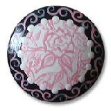 Pink and Black Toile Rose Drawer  Knobs