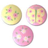 Pink and Yellow Butterfly Daisy Drawer  Knobs