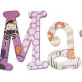 Little Zoo Girls  Wooden Wall Letters