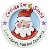 Cookies For Santa Blue Personalized  Plate