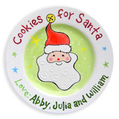 Cookies For Santa Face Personalized  Plate