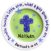 Cross and Stars Boy Baptism Personalized  Plate