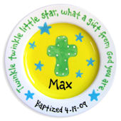 Cross and Stars Boy 2 Baptism Personalized  Plate