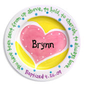 Heart Personalized  Baptismal Plate