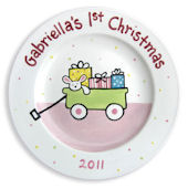 Babys First Christmas Girls Personalized Plate