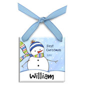 Chilly Snowman Boy Personalized Ornament