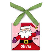 Jolly Santa Girl  Personalized Ornament