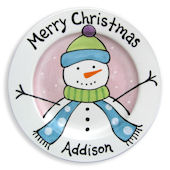 Merry Christmas Snowman Girls  Personalized Plate