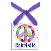 Peace and Polka Dots  Personalized Ornament