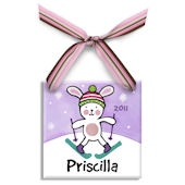 Snow Bunny Girl  Personalized Ornament