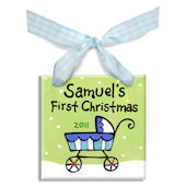 Stroller Boys First  Personalized Ornament