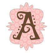 Mod Monogram Pink and Chocolate A Wall Sticker