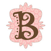 Mod Monogram Pink and Chocolate B Wall Sticker