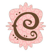 Mod Monogram Pink and Chocolate C Wall Sticker