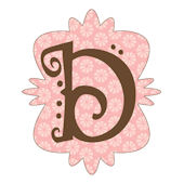 Mod Monogram Pink and Chocolate D Wall Sticker