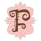 Mod Monogram Pink and Chocolate F Wall Sticker