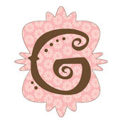 Mod Monogram Pink and Chocolate G Wall Sticker