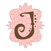 Mod Monogram Pink and Chocolate J Wall Sticker