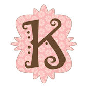 Mod Monogram Pink and Chocolate K Wall Sticker