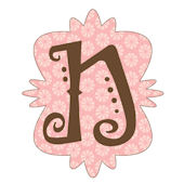 Mod Monogram Pink and Chocolate N Wall Sticker